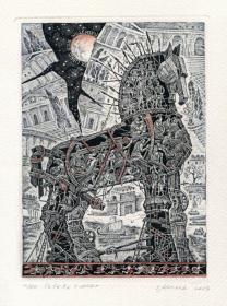 Irina Kozub藏書票之特洛伊木馬