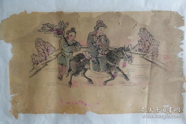 山东菏泽曹州木板年画红船口复兴永《戏剧图四》