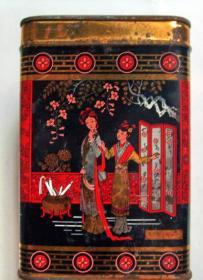 老茶叶筒茶叶罐收藏:红楼梦  (没有盖)(高12.5厘米,宽8.5厘米)