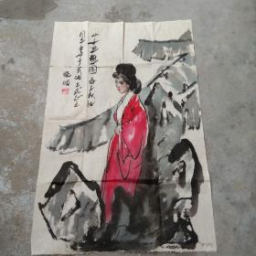 晓眀国画; 少女思想图[68x45]