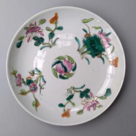包真清代古董老陶瓷 全品晚清粉彩四季花卉盘 民间古物瓷器包老