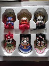 中国惠山泥人:京剧脸谱(六个)