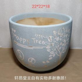 千禧年以后:天藍色 珍珠釉 happy tree大花盆2#