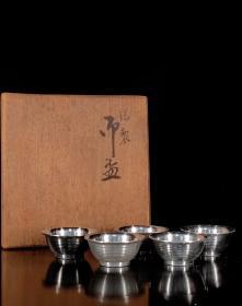 【锡杯】日本纯锡酒杯 锡茶盅一套五个 有款原共箱 昭和时期