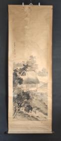 D1456:回流手绘大幅山水图立轴(日本回流字画.日本回流书画.回流老画.回流老字画精品.大量字画)