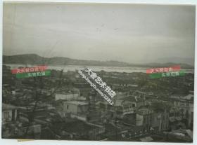 1939年6月28日福建福州俯瞰老照片一张,远处可见闽江。18.2X13.2厘米