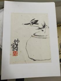 人民美术出版社 高清水印 卢坤峰  萧朗 小画两幅 每幅尺寸约25x24