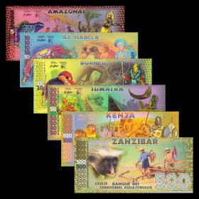 全新UNC赤道几内亚6枚/张(5-500元)塑料钞套币商业纪念钞