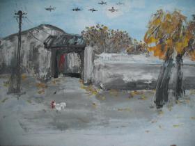 布面油画/风景油画   《村居/乡村小景》    尺寸:75X55厘米