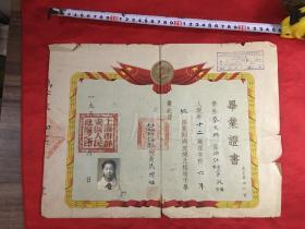 浙江宁波鄞县一一蔡文琳《蔡正粹的妹妹蔡文琳毕业证书》上海市私立学校光裕第二小学