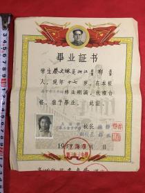 浙江宁波鄞县一一蔡文琳《蔡正粹的妹妹蔡文琳毕业证书》上海市第三女子中学、双旗毛像