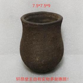 古樸風骨:鐵黑色 膽瓶造型 粗砂小花盆