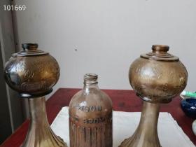 保老纯下乡老货,一组晚清民国的民间民俗物件,一对特大号老洋油灯与带英文的洋油瓶,满工工艺完整一套