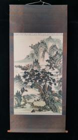 【日本回流】原装旧裱 长庚 国画作品《山水》一幅(纸本立轴,画心约6.7平尺,款识钤印:长庚书画)HXTX195858