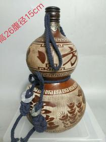 八方進寶酒葫蘆一個,品相如圖,雕刻精細,保存完好。