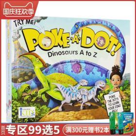 戳书上的点Poke a dot 系列【厚纸板】Dinosaurs A to Z 戳恐龙上的点学习字母A-Z 认知早教字母启蒙书 英文原版英语学习纸版绘本