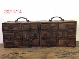 花梨首饰盒一对,保存完好品相一流