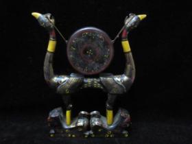 清代精品稀有薄胎木胎老漆器精工彩繪虎座鳥鼓收藏品傳世包漿擺件