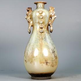 唐银光窑金银釉堆花双龙瓶