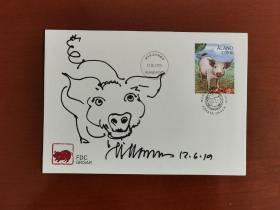 【名家手绘封】著名邮票设计师马丁莫克先生《生肖猪手绘封》一枚,奥兰群岛发行的中国生肖猪年首日封,邮票由马丁·莫克先生设计雕刻。