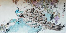 著名国画家颜国兴《紫气东来》吉祥孔雀图