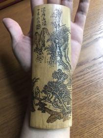 民国丁亥年深居图茶则,刀法精悍,包浆漂亮