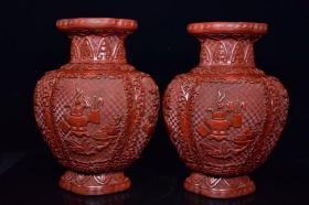 剔红漆器小海棠瓶一对,重1896克
