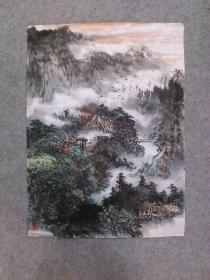 成都名家 四川省美协会员 杨老 山水画山野人家 原稿手绘真迹