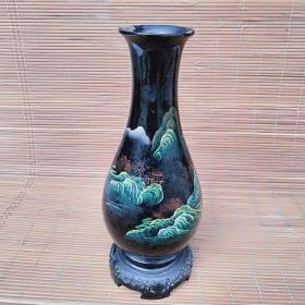 老漆器描彩花瓶