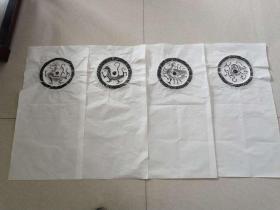 全汉四灵,四神瓦当原拓拓片,青龙,白虎,玄武,朱雀瓦当一套四张汉四灵,四神砖原拓拓片,青龙白虎玄武,朱雀瓦当拓片。为汉砖原拓拓出;,,合计全套四张,各拓在68*34厘米宣纸的上部;汉时期四灵;青龙、白虎、朱雀、玄武这四位天神实际上来源于古代的星宿神格崇拜。东为青色,配青龙,西为白色,配白虎,南为朱色,配雀,北为黑色,配玄武,黄为中央正色。