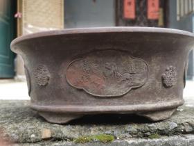 清末民初 名家葛德和造 紫砂老花盆 橢圓形