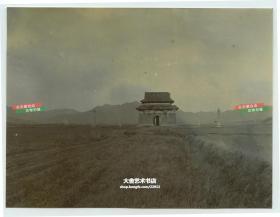 清代北京市昌平区十三陵碑楼和神路望柱老照片