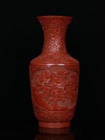 清代-剔红漆器「花开富贵」赏瓶