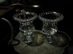 高腳 玻璃杯 一對 花器