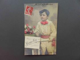 {会山书院}124#欧洲1910年(童真女孩)贴邮票实寄明信片 手账素材 外国集邮
