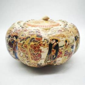 清乾隆琺瑯彩仕女圖南瓜罐 陶瓷擺件尺寸:高12口徑9