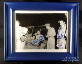 """【超珍罕】""""日本核爆"""" 投手 保罗·蒂贝茨 及 查尔斯·阿尔伯里 双人签名照片(带框)====1995年 签名 由三大签名鉴定公司之一PSA/DNA鉴定"""