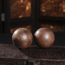 一对天然黑檀木木雕木球单个直径5厘米一对的价格
