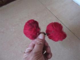 北方民间儿童红色带银铃帽花头饰老戏服帽子装饰花朵收藏民风民俗