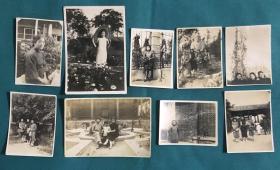 民国时期 穿旗袍的美女公园内合影、手拿遮阳伞、大佛前留影老照片一组9枚