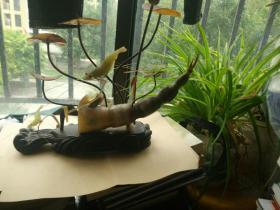 角雕作品,藕,荷叶5枝,虾一大俩小,鱼两个,