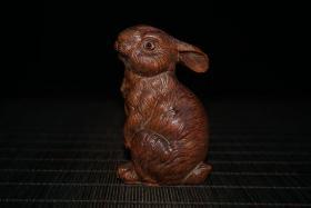 兔子摆件(黄杨木雕刻)雕工精湛 栩栩如生