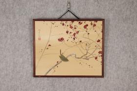 回流字画 回流书画 木相框 花鸟 翠鸟红梅 喜上枝头 喜上眉梢 绢本 日本回流字画 日本回流书画