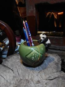 笔筒 熊猫小罐 陶瓷修复品