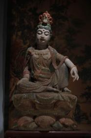 收藏木雕自在观音佛像一尊 高51厘米宽26厘米