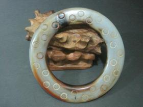 古玩玉器老玉玛瑙袈裟环挂件玉佩
