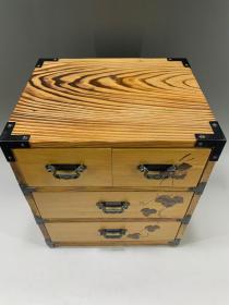日本老货,实木案头小抽屉柜
