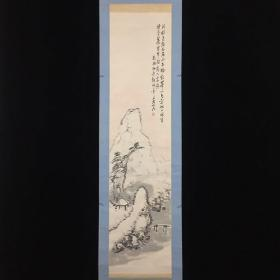 【全场包邮】原装旧裱  师承田能村直入  著名南画家 服部五老( 1871-1932 ) 晴雪 山水立轴一件 (书画回流精品)