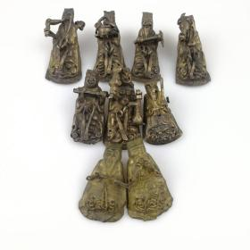 清代银鎏金八仙人物帽花古玩古董老银器怀旧老物件民俗杂项收藏