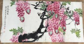 画家周彦生作品花鸟尺寸136×69